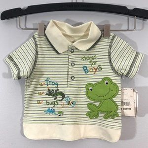 NWT Okie Dokie Frog Striped Polo Shirt